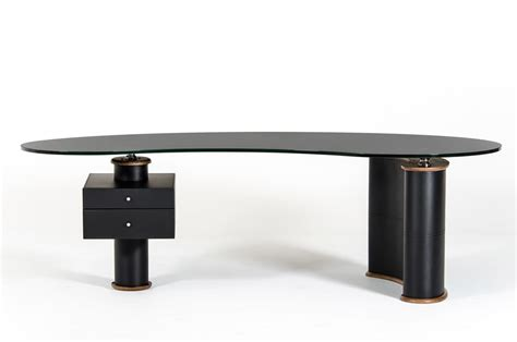 Black Modern Executive Desk With Walnut Accent San Diego Black Modern Desk