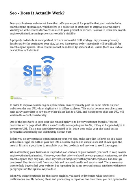 seo does it actually work