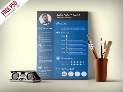 Creative Professional Resume Templates Free by Creative And Professional Resume Cv Free Psd Template