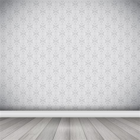 wallpaper interior interior with damask wallpaper and wooden floor vector