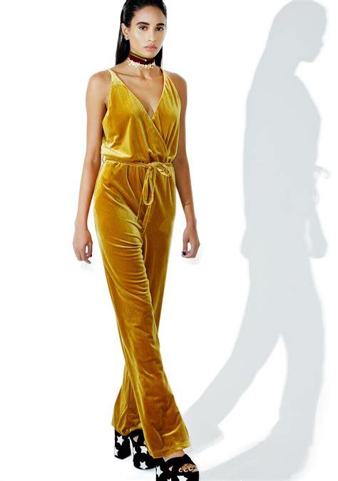 Jumpsuit Velvet 1 gold velvet jumpsuit dolls kill