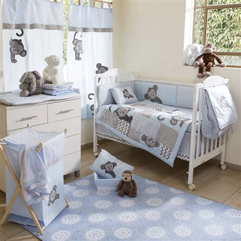 baby nursery bedding set blue monkey crib bedding collection 4 pc crib bedding set
