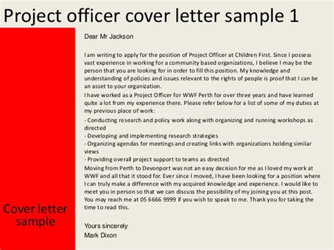 Project Officer Cover Letter by Project Officer Cover Letter