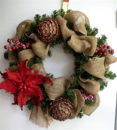 christmas wreath ideas wreath made of burlap ribbon pine cones pointsetta