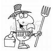 Royalty Free Black And White Cartoon Farmer In A Straw Hat