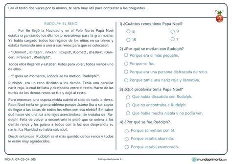 preguntas personales y divertidas ficha de comprender texto del reno rudolph para primaria