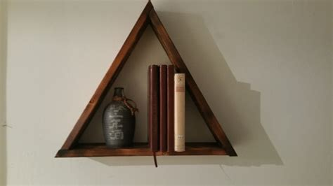 Large Wooden Shelf by Large Wooden Triangle Shelf