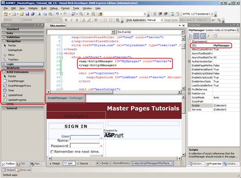 website templates for asp net master pages master pages and asp net ajax c the asp net site