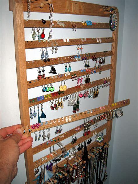 Earring Rack by Wooden Earring Rack Wall Woodproject