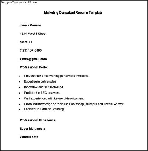 marketing consulting template sle marketing consultant resume template sle