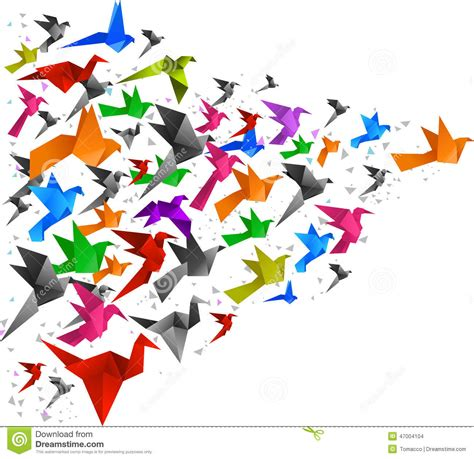 Origami Bird Flying - origami birds flying 2 stock illustration illustration of