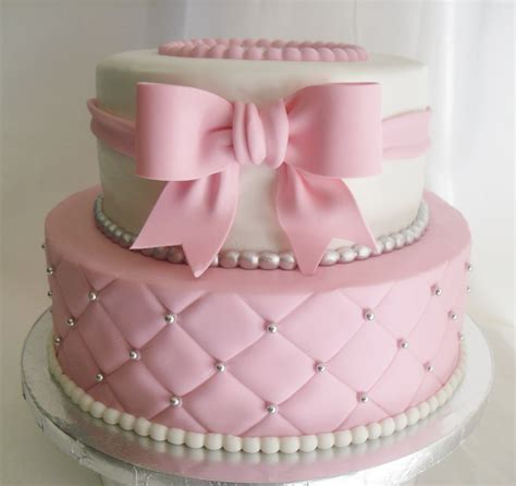 Quilted Cake by Made Fresh Daily Quilted Pink And White Baby Shower Cake