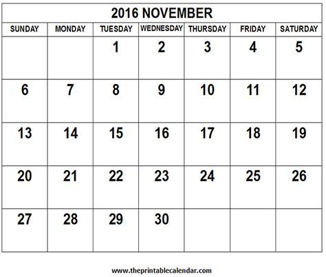 Kalender 2016 November November 2016 Calendar
