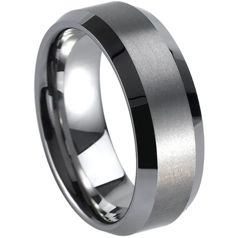 Tungsten Carbide Ring For Classical size 7 15 classical simple plain brushed tungsten carbide graduation wedding engagement ring
