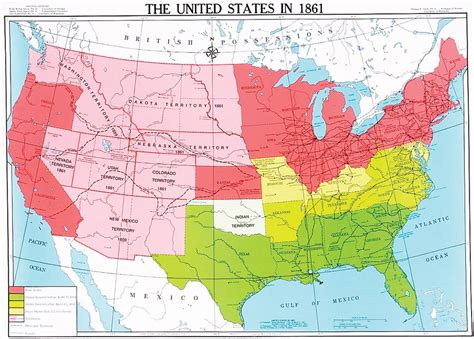 1861 map of united states united states in 1861 u s history map