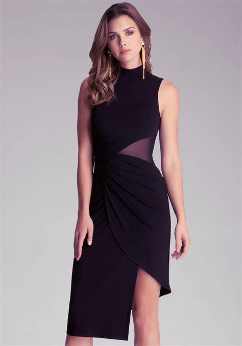 Dress Bebe Midi 1 bebe mock neck midi dress in black lyst