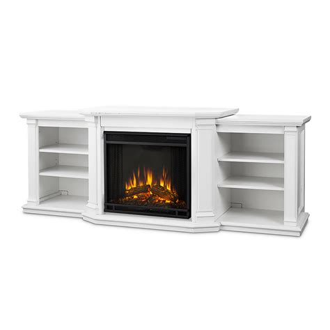 valmont electric fireplace entertainment center in white