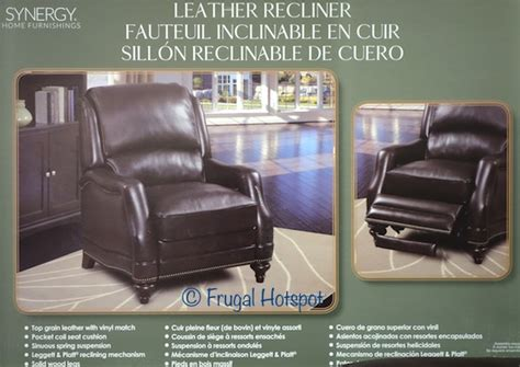 costco recliner 399 costco sale synergy home furnishings leather recliner