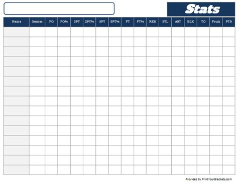basketball stats sheet tracker printable and editable