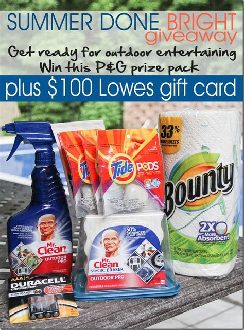 Lowes Gift Card Giveaway - summer done bright with procter and gamble 100 lowes gift card pr