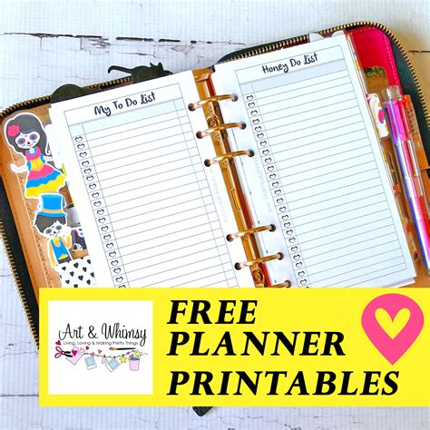 printable planner set free planner printables art whimsy