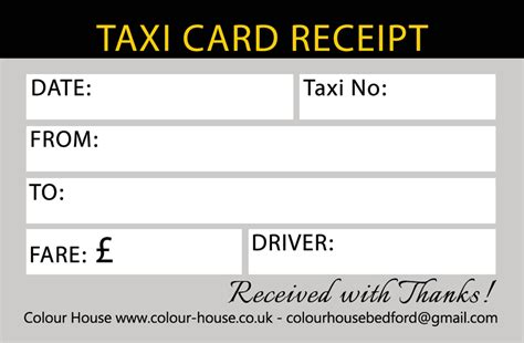 Taxi Card Receipt Template by Taxi Cab Business Cards Choice Image Business Card Template