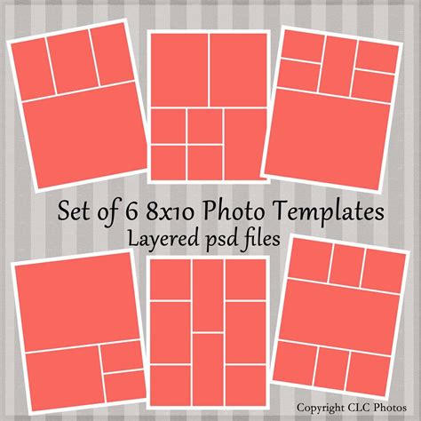 8x10 Marketing Photo Template Collage Story Board Layered Psd 8x10 Album Template