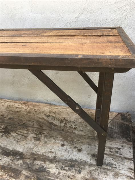 sidetable 170 cm stoere landelijke houten metalen bank bankje klapbank