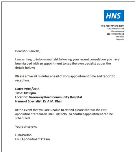 nhs patient appointment letter template integrating all three skills traineeship staff support