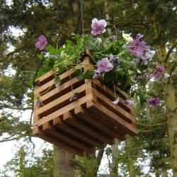 Hanging planter with landscape cloth liner hanging basket made from