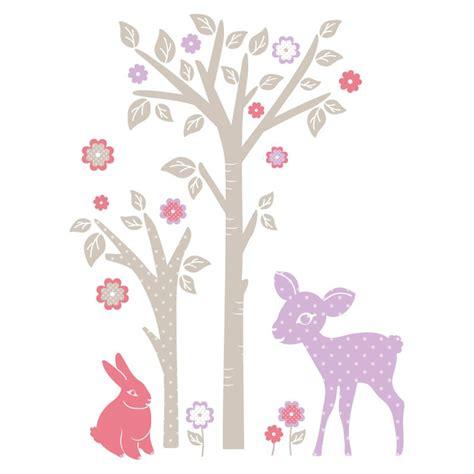 sticker mural quot lapin faon et arbre quot motif enfant fille