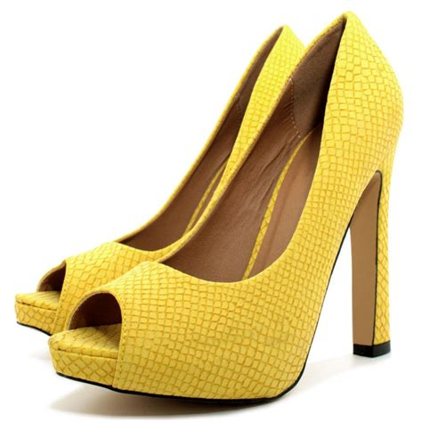 yellow shoes buy croc curved heel concealed platform peep toe court