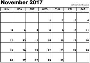Calendar Template November by November 2017 Calendar Weekly Calendar Template