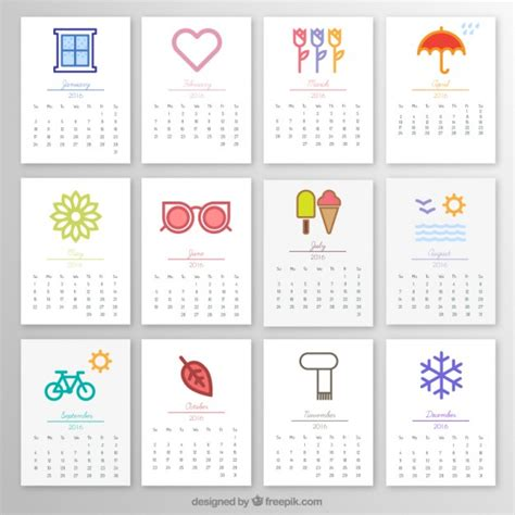 Calendrier X 2016 2016 Monthly Calendar With Icons Vector Free