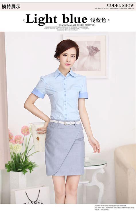 Baju Atasan Cewek Biru Putih Import Murah kemeja wanita lengan pendek cantik model terbaru jual