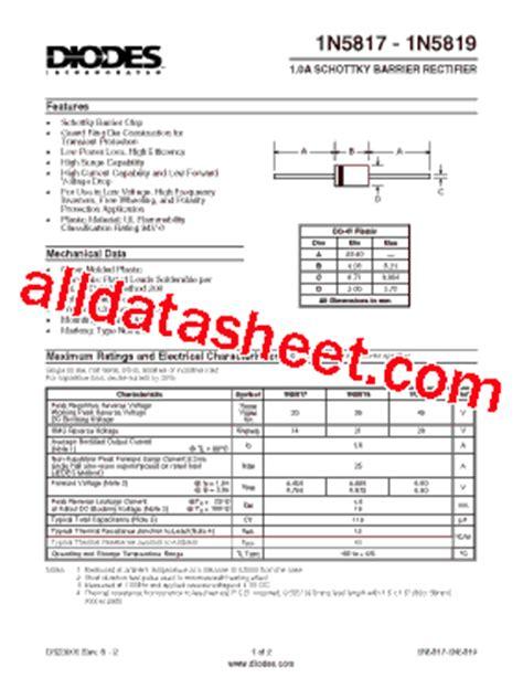 high voltage zener diode datasheet 1n5817 datasheet pdf diodes incorporated