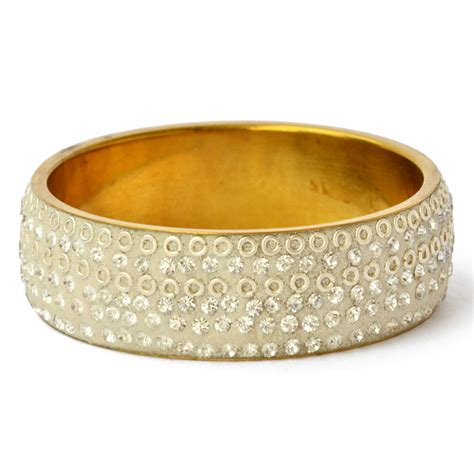 Handmade Metal Rings - handmade white bangle studded with metal rings white