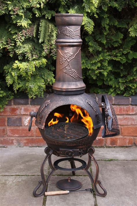chiminea chimney extension bronze grapes cast iron chimenea and bbq combined