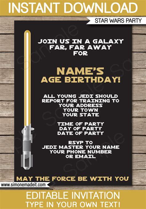 gold wars invitations editable template birthday
