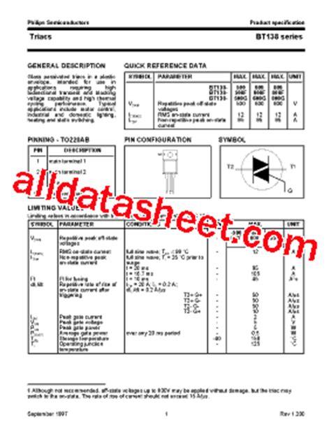 bf423 transistor datasheet pdf bt138 datasheet pdf nxp semiconductors