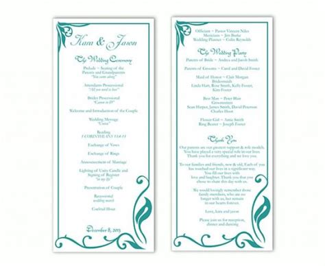 program template word free wedding program template diy editable text word file