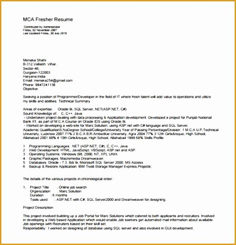 Resume Format Doc For Fresher Mca 8 Resume Template For Fresher Free Sles Exles Format Resume Curruculum Vitae