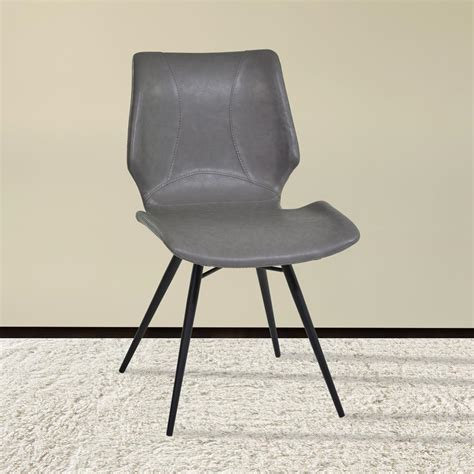 black leather and metal dining chair armen living zurich 32 in vintage gray faux leather and
