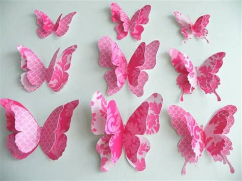 Handmade Paper Butterflies - inexpensive diy wall decor ideas and crafts