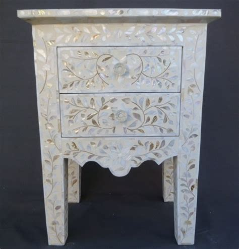 indian of pearl inlay furniture bedside table