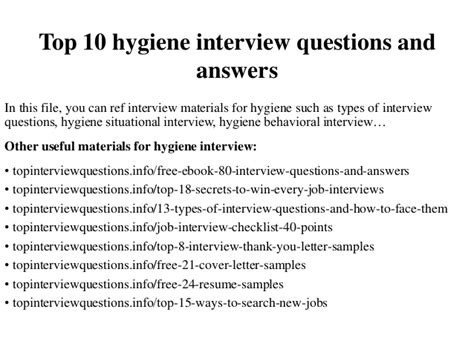 top 10 hygiene questions and answers