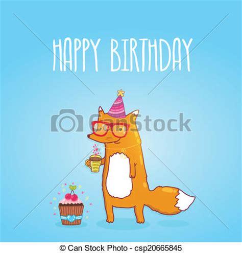 imagenes hipster de feliz cumpleaños eps vector de feliz cumplea 241 os hipster tarjeta zorro