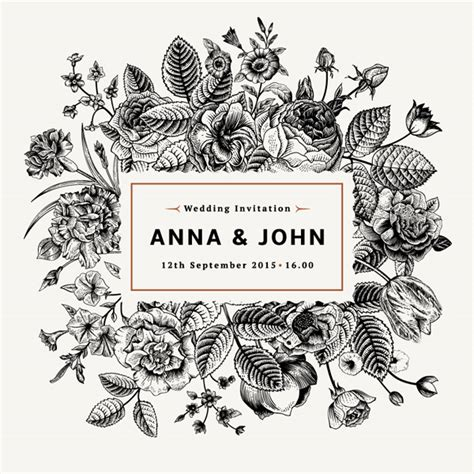 template vector undangan pernikahan tangan dicat kartu undangan pernikahan bunga kartu kartu