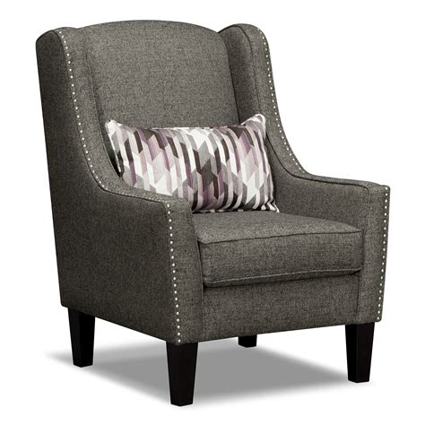 Ritz 2 Pc Living Room W Accent Chair American Signature Grey Living Room Chair