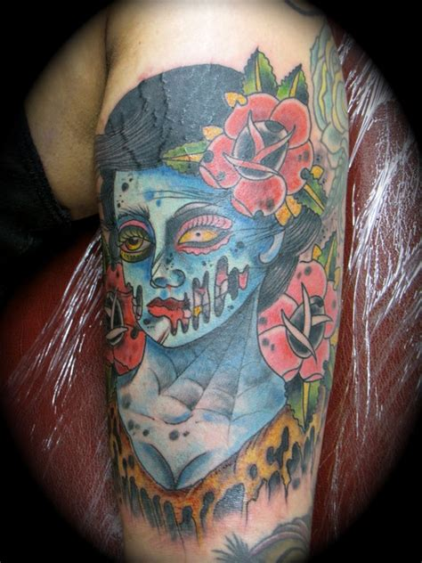 zombie pin up girl tattoos pin up with skull on thigh 187 ideas